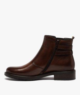 Boots femme unis à talon plat dessus cuir à bords ajourés vue3 - GEMO (CASUAL) - GEMO