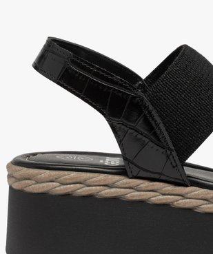 Sandales femme à talon compensé et brides élastiques vue6 - GEMO(URBAIN) - GEMO