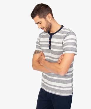 Pyjashort pour homme avec haut rayé et bas uni vue2 - GEMO(HOMWR HOM) - GEMO