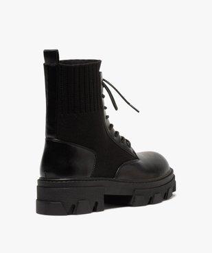 Boots femme unies à semelle crantée et col en maille vue4 - GEMO (CASUAL) - GEMO