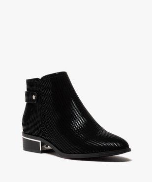 Boots femme à talon plat dessus en suédine à motifs vernis vue2 - GEMO (CASUAL) - GEMO
