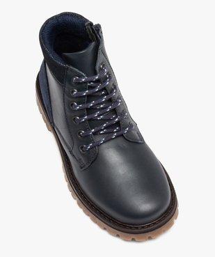 Boots garçon avec dessus cuir uni et semelle crantée vue5 - GEMO - GEMO