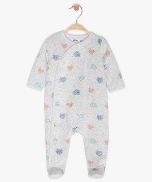 Pyjama bébé en velours à motifs éléphants multicolores vue1 - GEMO(BB COUCHE) - GEMO