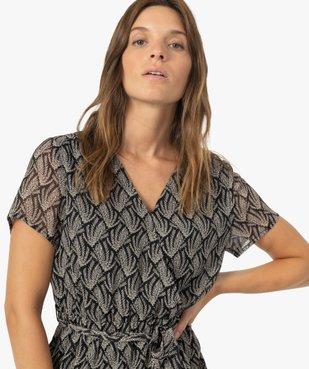 Robe femme imprimée à fines rayures pailletées vue2 - GEMO(FEMME PAP) - GEMO