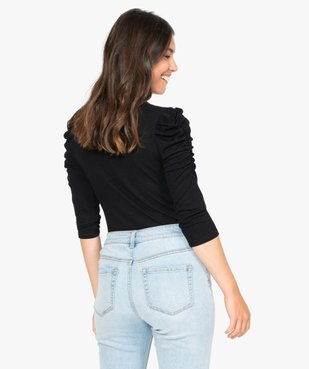 Tee-shirt femme à manches ¾ froncées vue3 - GEMO(FEMME PAP) - GEMO