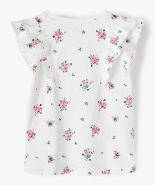 Tee-shirt fille à motifs fleuris et volants sur les épaules vue3 - GEMO C4G FILLE - GEMO