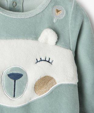 Pyjama bébé fille en velours avec motif nounours vue2 - Nikesneakers(BB COUCHE) - Nikesneakers