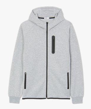Sweat homme zippé à capuche et poches zippées vue5 - GEMO (HOMME) - GEMO