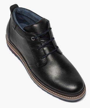 Boots homme lacés en cuir souple et semelle sport vue5 - GEMO(URBAIN) - GEMO