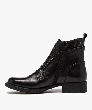 Boots femme unies à talon plat style godillots dessus cuir vue3 - GEMO (CASUAL) - GEMO