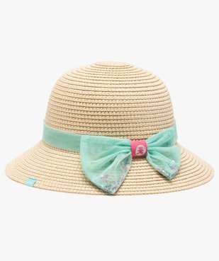 Chapeau bébé fille en paille à ruban en tulle - Lulu Castagnette vue1 - LULUCASTAGNETTE - GEMO