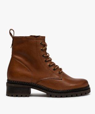 Boots femme dessus cuir uni à lacets et semelle crantée vue1 - GEMO (CASUAL) - GEMO