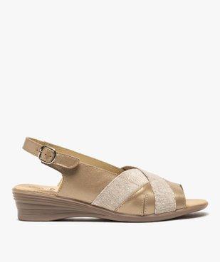 Sandales femme confort en cuir avec détails brillants vue1 - GEMO (CONFORT) - GEMO