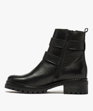 Boots femme à talon large unies en cuir à semelle crantée vue3 - GEMO (CASUAL) - GEMO