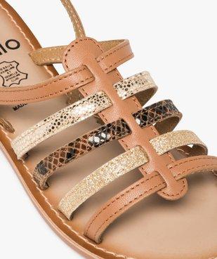 Sandales femme à talon plat et brides multiples en cuir vue6 - GEMO (CASUAL) - GEMO