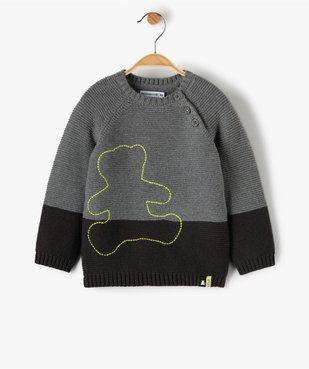 Pull bébé garçon bicolore – Lulu Castagnette vue1 - LULUCASTAGNETTE - GEMO