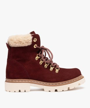 Boots fourrées femme dessus cuir à col sherpa vue1 - GEMO (CASUAL) - GEMO
