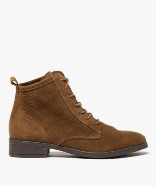 Boots femme à talon plat dessus cuir style godillots vue1 - GEMO (CASUAL) - GEMO