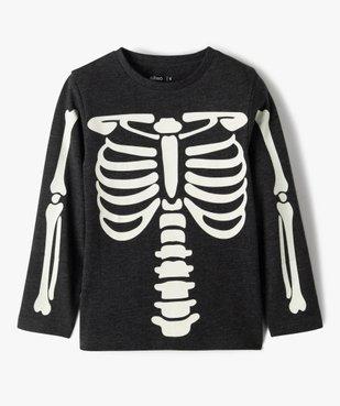 Tee-shirt garçon à manches longues motif squelette phosphorescent vue1 - GEMO (ENFANT) - GEMO