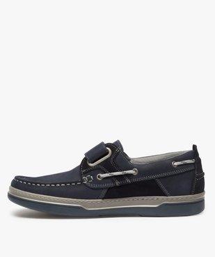 Chaussures bateau homme dessus cuir fermeture scratch vue3 - GEMO (CONFORT) - GEMO