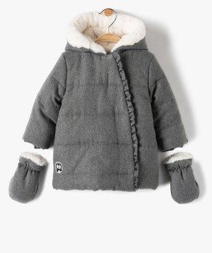 Parka bébé fille doublée à moufles et fermeture asymétrique vue1 - GEMO(BEBE DEBT) - GEMO
