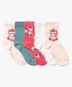 Chaussettes bébé fille à imprimé licorne (lot de 5) vue1 - Nikesneakers C4G BEBE - Nikesneakers