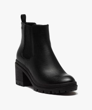 Boots femme unis à talon carré et semelle crantée vue2 - GEMO(URBAIN) - GEMO