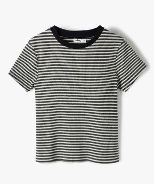 Tee-shirt fille rayé à manches courtes vue1 - GEMO C4G FILLE - GEMO