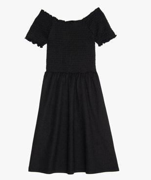 Robe fille en maille gaufrée et buste à smocks vue1 - GEMO (JUNIOR) - GEMO