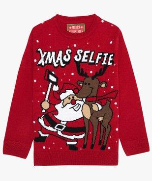Pull de Noël garçon avec motif Père Noël et renne vue1 - GEMO (ENFANT) - GEMO