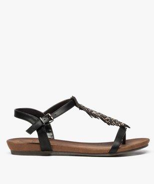 Sandales femme avec feuille en strass et petit talon compensé vue1 - GEMO (CASUAL) - GEMO