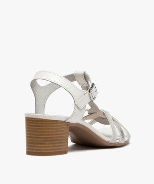 Sandales femme à talon carré et fines brides en cuir vue4 - GEMO(URBAIN) - GEMO