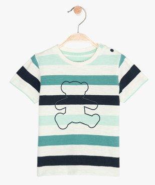 Tee-shirt bébé garçon à rayures et motif - Lulu Castagnette vue1 - LULUCASTAGNETTE - GEMO