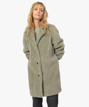 Manteau femme en sherpa fermeture boutons vue2 - Nikesneakers(FEMME PAP) - Nikesneakers