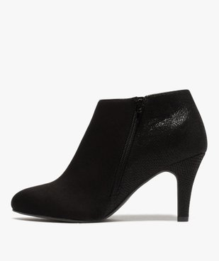 Low-boots femme dessus suédine et bordures passepoil vue3 - GEMO(URBAIN) - GEMO