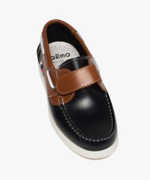 Chaussures bateau garçon dessus cuir à scratch vue5 - GEMO (ENFANT) - GEMO