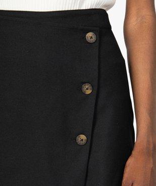 Jupe short femme effet portefeuille avec boutons  vue3 - GEMO(FEMME PAP) - GEMO