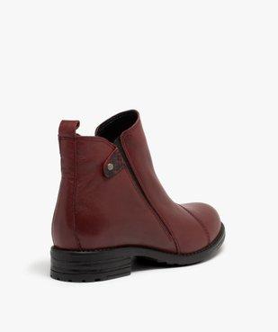 Boots femme à talon plat dessus en cuir uni vue4 - GEMO (CASUAL) - GEMO