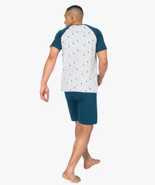 Pyjashort homme en coton stretch motif bateau vue3 - GEMO(HOMWR HOM) - GEMO