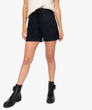Short femme à taille haute et carreaux vue1 - GEMO(FEMME PAP) - GEMO