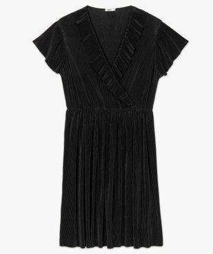 Robe femme plissée avec col cache-cœur  vue4 - GEMO(FEMME PAP) - GEMO
