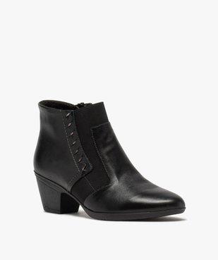 Boots femme confort à talon dessus cuir vue2 - GEMO (CONFORT) - GEMO