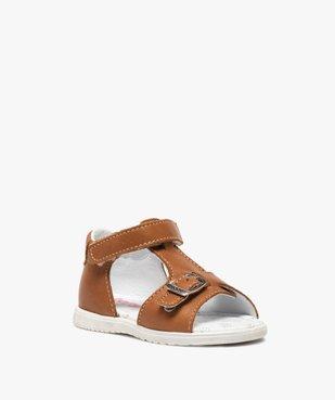 Sandales bébé en cuir uni ajustables - Bopy vue2 - BOPY - GEMO