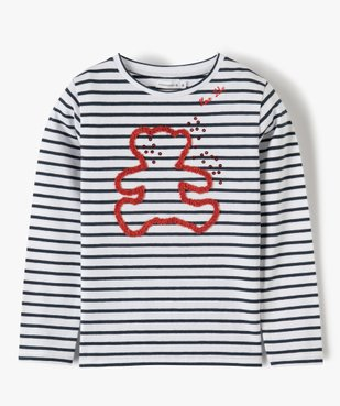 Tee-shirt fille rayé avec motif brodé – Lulu Castagnette vue1 - LULUCASTAGNETTE - GEMO