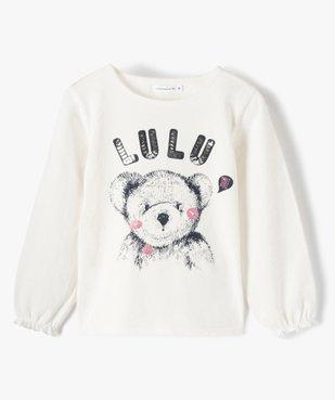 Tee-shirt fille avec motif et sequins brodés – Lulu Castagnette vue1 - LULUCASTAGNETTE - Nikesneakers
