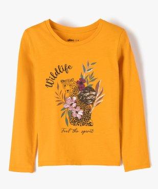 Tee-shirt fille avec motifs fleuris et sequins vue1 - GEMO (ENFANT) - GEMO