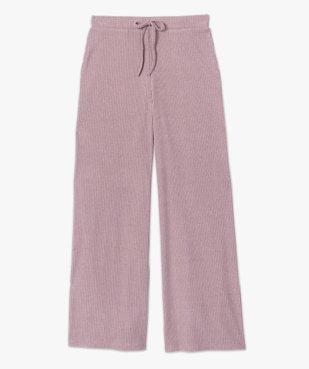 Bas de pyjama femme large en maille côtelée extra douce vue4 - GEMO(HOMWR FEM) - GEMO