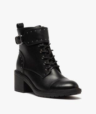Boots femme unies à talon carré et brides à clous vue2 - GEMO(URBAIN) - GEMO