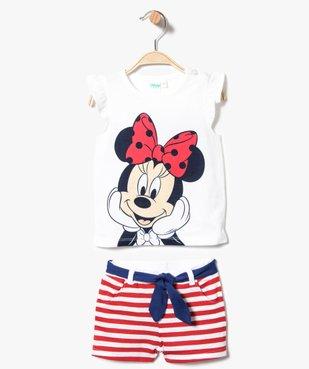 Ensemble 2 pièces : tee-shirt sans manches et short rayé - Minnie Mouse vue1 - MINNIE - GEMO