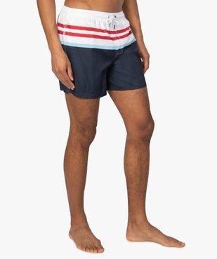 Short de bain homme rayé vue1 - GEMO (PLAGE) - GEMO